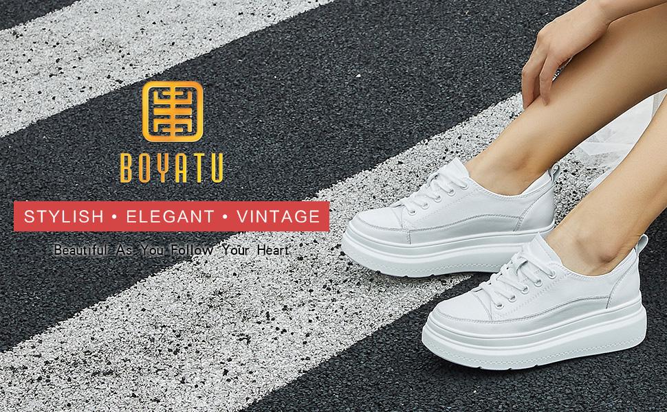 BOYATU Leather Platform Sneakers for Women Fashion Chunky
