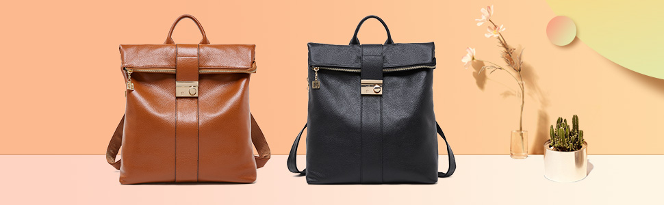 BOYATU Anti Theft Leather Backpack Purse for Women Large Travel Shoulder Bag