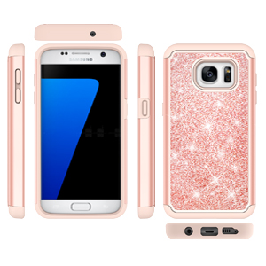 Galaxy S7 Case with Tempered Glass Screen Protector [2 Pack], LeYi Glitter Bling Girls Women [PC Silicone Leather] Dual Layer Heavy Duty Protective ...
