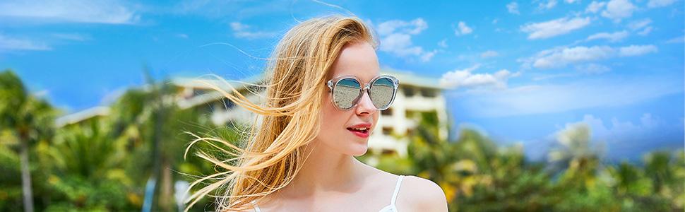 a0e2a6c34c4 Amazon.com  BLUEKIKI YEUX Women Polarized Sunglasses Vintage ...