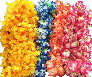 BOSHENG Hawaiian Flowers Leis Flower Necklaces for Party Supplies,Birthday Party Favors,Pack of 30