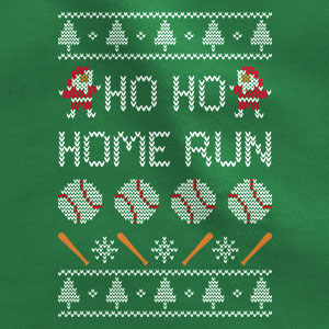 home run baseball print ugly christmas