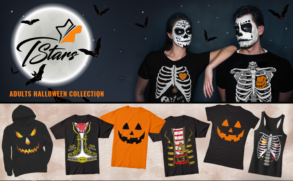 85984a26 Tstars Halloween collection offers the coolest rib cage Xray skeleton  prints, easy Halloween costumes, pumpkin face shirts and spooky ghost  hoodies!