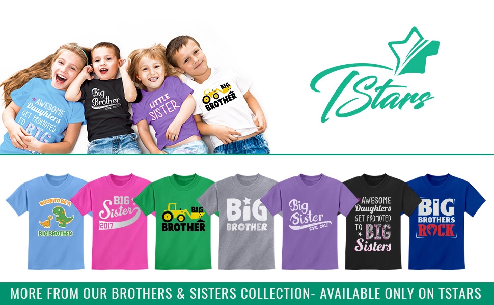 Gift for Big Brother Siblings Boys Toddler Kids T-Shirt Tstars