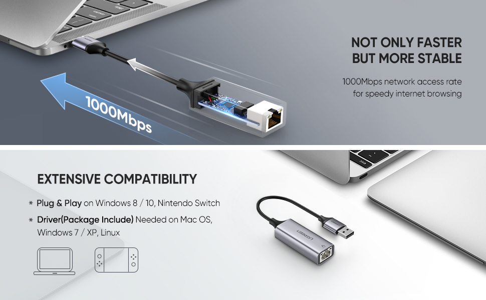 usb 3.0 rj45 adapter for mac pc notebook