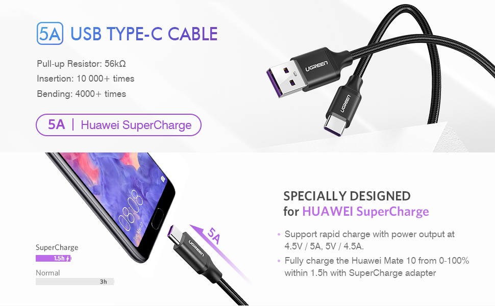 Fast Charge 5V 5A USB-C Type-C to USB 2.0 Data Cable for Huawei Mate 9 /& P10 GL