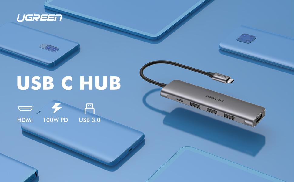 UGREEN 4K HDMI USB C Hub, 3 USB 3.0, 100W PD Charging