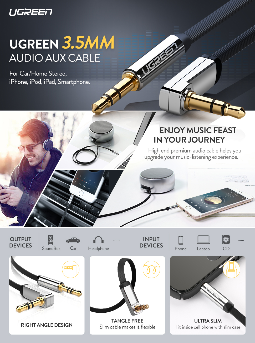 iPods Home//Car Stereos and More. 3.5mm Aux Cable 1.5ft,3.5mm Stereo Audio Cable Extension Male to Male Nylon Braided 1.5ft//0.5m Tangle-Free AUX Cable for Headphones iPads iPhones