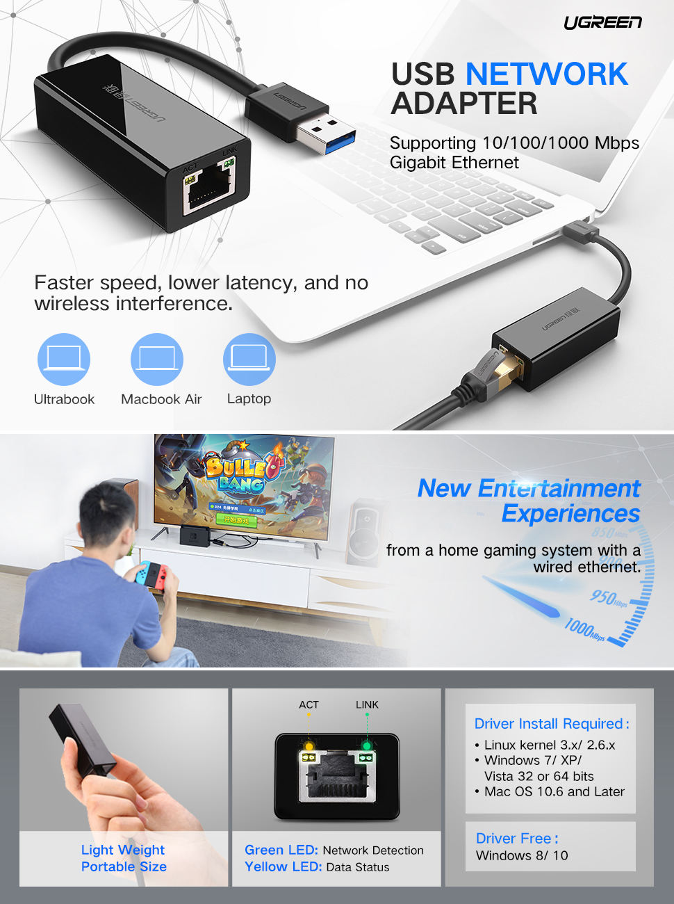 Ugreen Network Adapter Usb 30 To Ethernet Rj45 Lan Rj5 Wiring Diagram Gigabit For Nintendo Switch