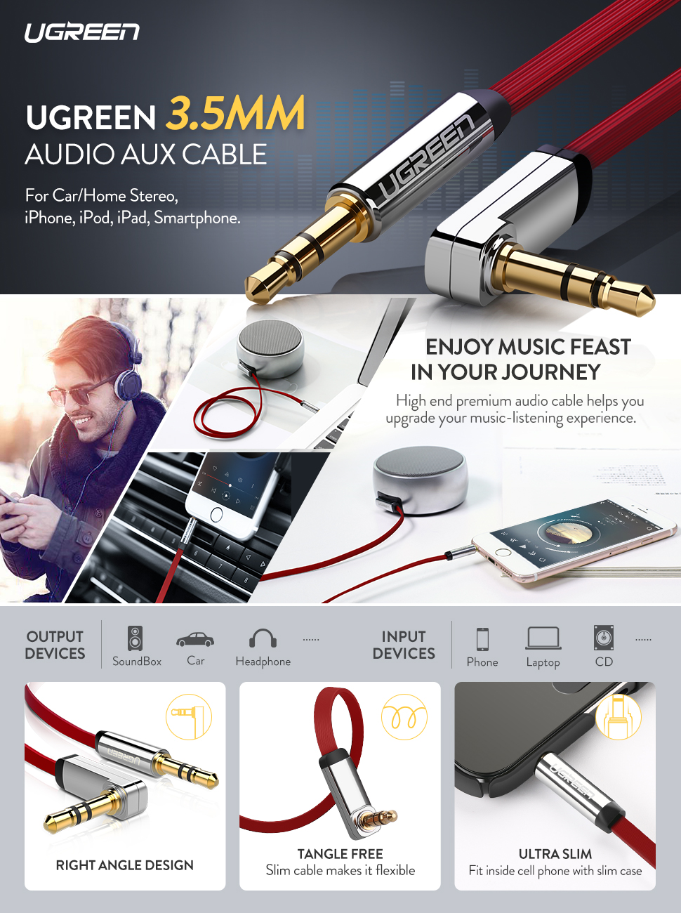 Speakers UGREEN 3.5mm Audio Cable iPhone 1.5FT iPad 24K Gold Plated Male to Male Black Stereo Aux Jack to Jack Cable 90 Degree Right Angle Auxiliary Cord Compatible for Beats iPod Tablets