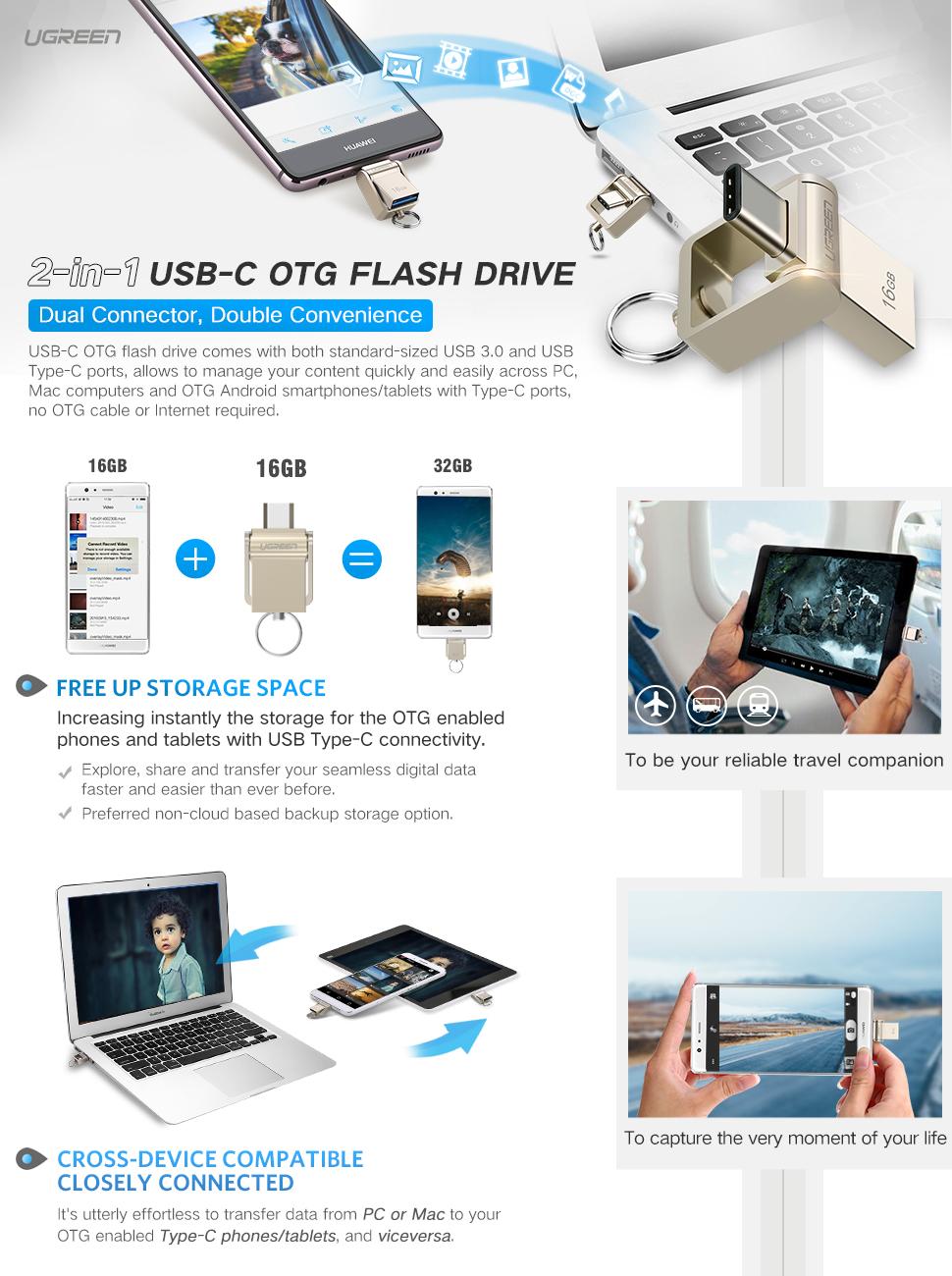 Ugreen Usb 30 Type C Otg Flash Drive For Flashdisk Atau Flashdrive Samsung Original Smartphone And Tabletslike Apples Macbookgoogles Chromebook Pixel Nokia N1 Tablet Etc