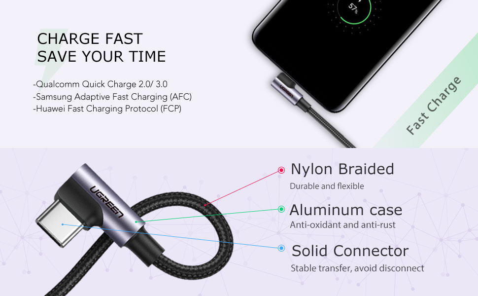UGREEN USB C Cable Right Angle 90 Degree USB A to Type C Fast Charger Compatible for Samsung Galaxy S10 S9 S8 Plus Note 9 8 LG G7 V40 V20 V30 G6 G5 ...