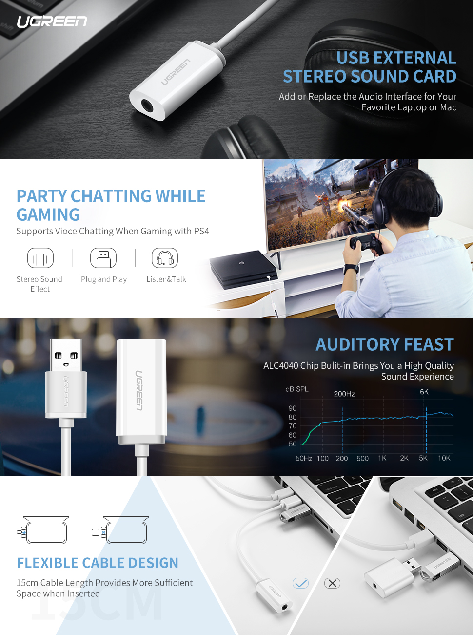 ugreen usb sound card external converter usb audio adapter with aux stereo for. Black Bedroom Furniture Sets. Home Design Ideas