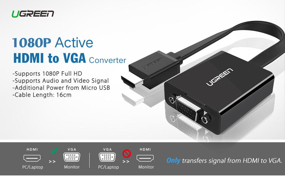 UGREEN HDMI to VGA Adapter with 3.5mm Audio
