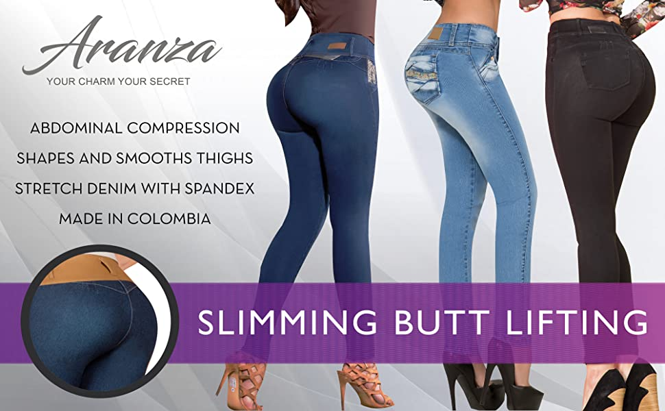 Aranza High Waist Skinny Butt Lifting Jeans Colombian Stretch Jeans For Women