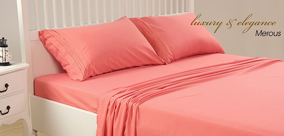 Merous Microfiber Bed Sheets Set Coral, Queen