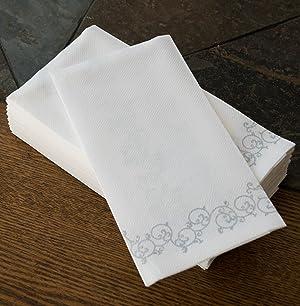 Simulinen Decorative Linen Feel Bathroom Hand Towels Silver Floral Disposable