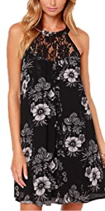 DREAGAL Women's Sleeveless Lace Patchwork Loose Casual