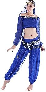 b3d676b46f52 Amazon.com: Seawhisper 12 Colors Belly Dance Costumes India Dance ...