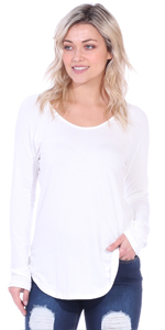Curved Hem Tunic Top Long Sleeve Made In USA