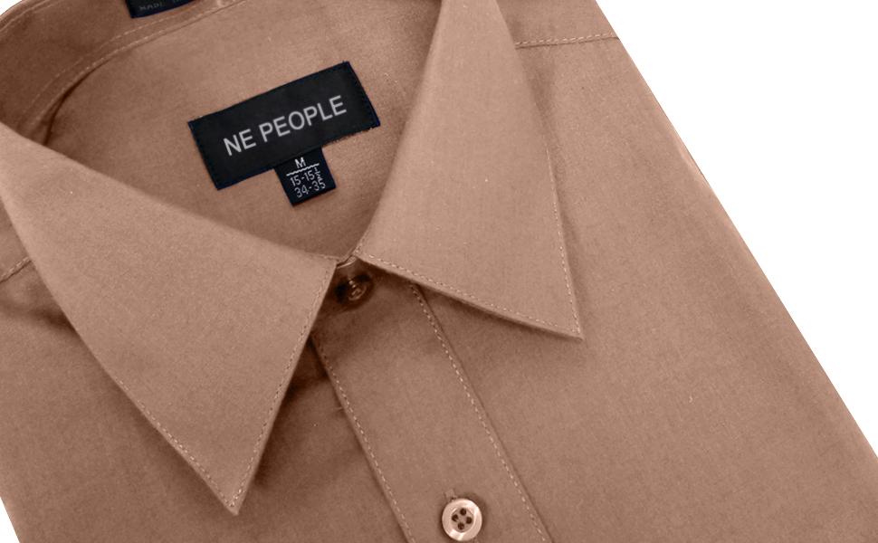 NEMT102 Men's Classic Regular Fit Button Down Short Sleeve Solid Color Dress Shirts S-5XL