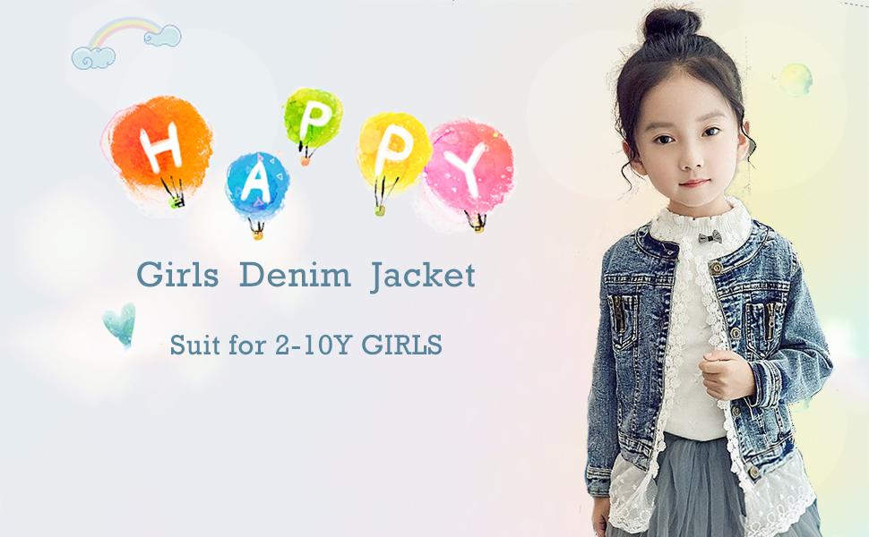 e8f311ad5706 Amazon.com  Kids Girls Jean Jacket Toddler Spring Denim Jacket Lace ...