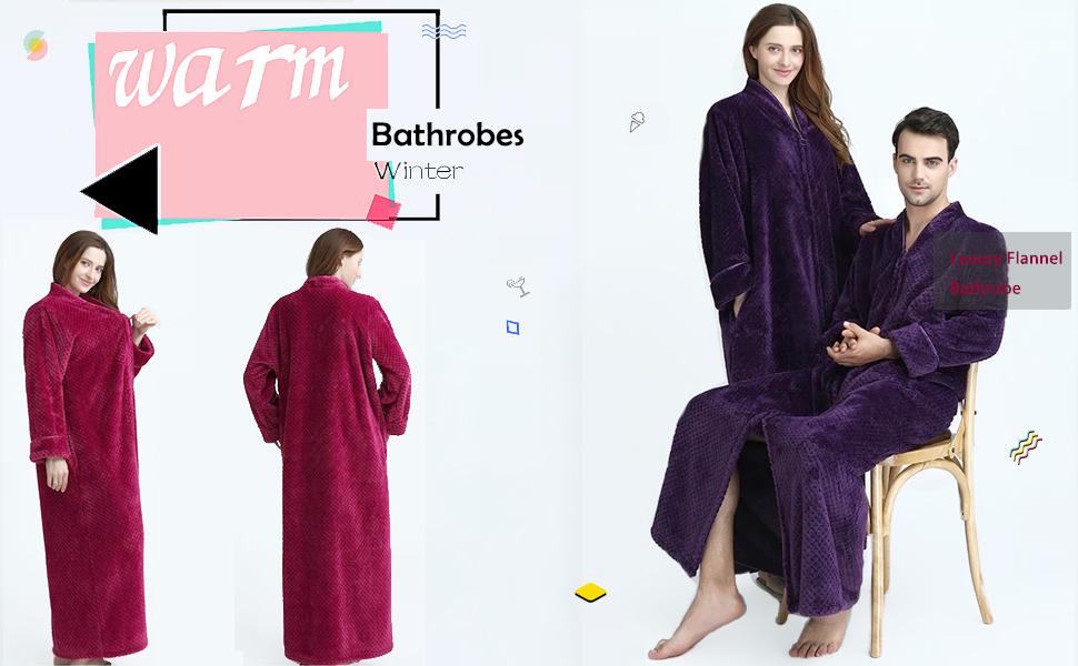 Womens Fleece Robe Plush Long Zip-Front Bathrobe with Pockets