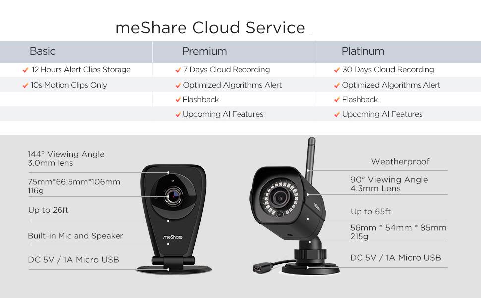 meShare 1080p HD Cloud Cam KitsFree 6 Month Premium Cloud RecordingWireless S...