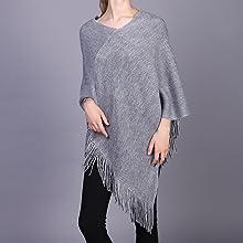 gray poncho sweater women