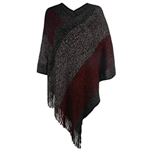 red poncho sweater women