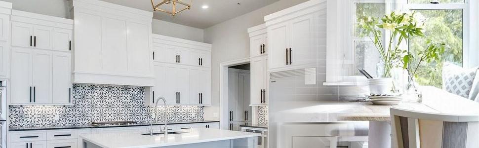 white wardrobe with black handles