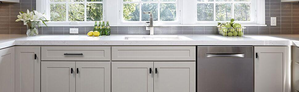 Flat black kitchen cabinet knobs