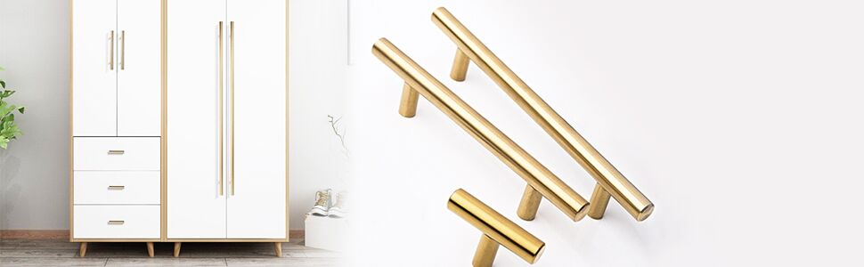 Brushed brass euro style gold bar drawer pull