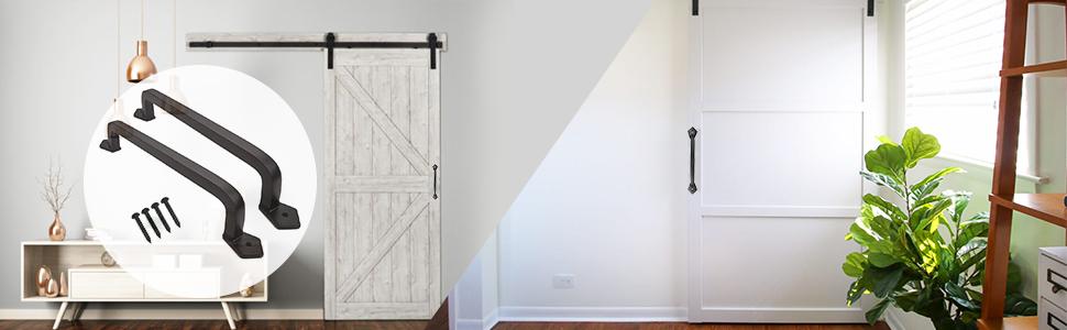 OERTUFU Barn Door Handle Pull Sliding Door Black Steel or Stainless Steel Black Solid Steel Door Handle