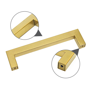 square gold door pulls,brushed brass finish