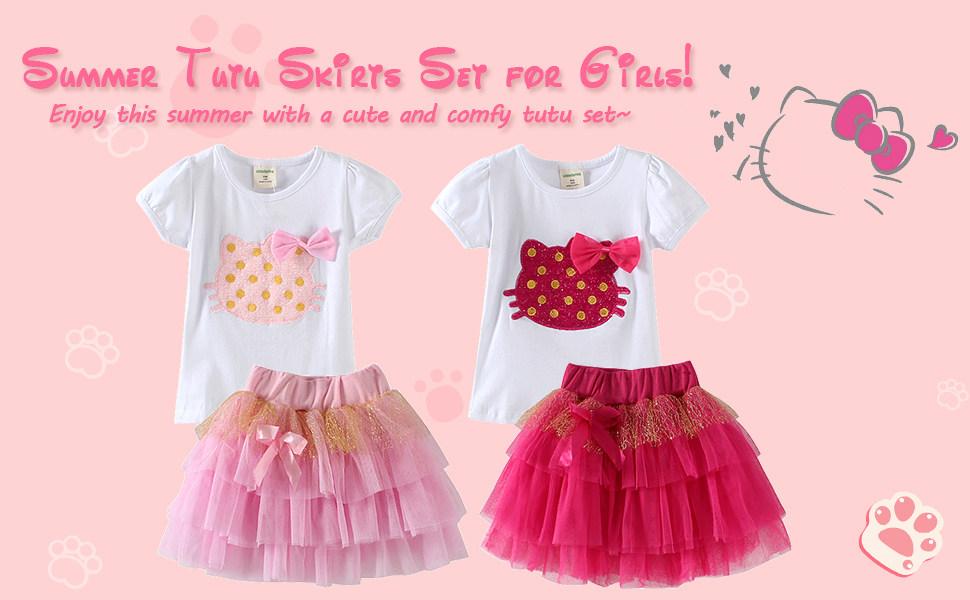 Tutu Skirt 2-Piece Clothing Set LittleSpring Little Girls Summer Outfit Cat T-Shirt