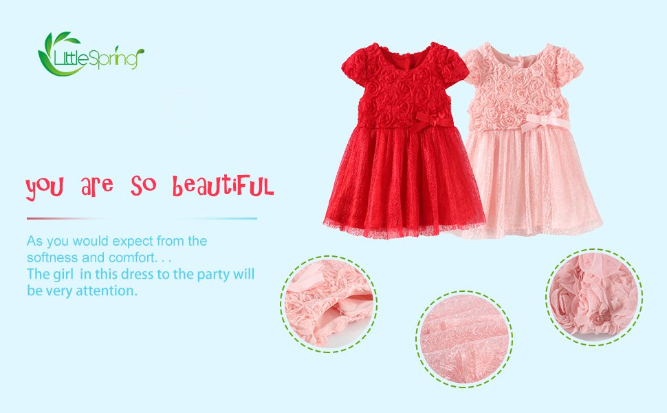 LittleSpring Baby Girls' Party Dresses Flowers