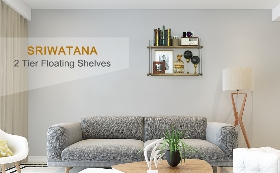 SRIWATANA Rustic Floating Shelves, 2 Tier Wood Wall Shelves with Superior  Bearing Capacity for Bedroom, Living Room, Dining Room and More