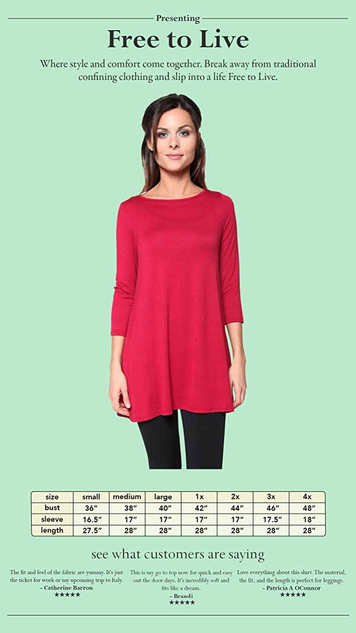 Free to Live Women's Long Flowy Elbow or Long Sleeve Jersey Tunic ...