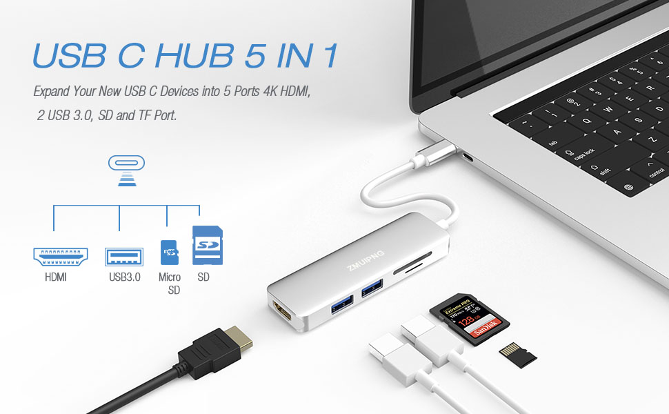 USB C to HDMI Card Reader Hub Adapter for MacBook Pro 2019-2016,MacBook Air 2018,Surface Go, 5 in 1 USBC Type C Dongle with 4K HDMI,2 USB 3.0 ...
