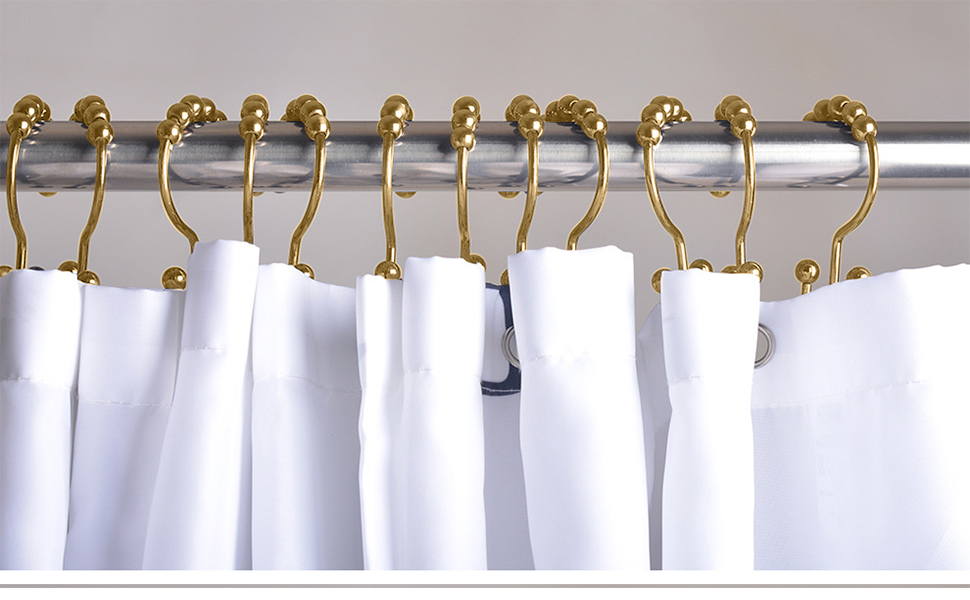 Gold Shower Curtain Ring Hook Easy Roller Ball Curtian Hooks 12 Count Chrome
