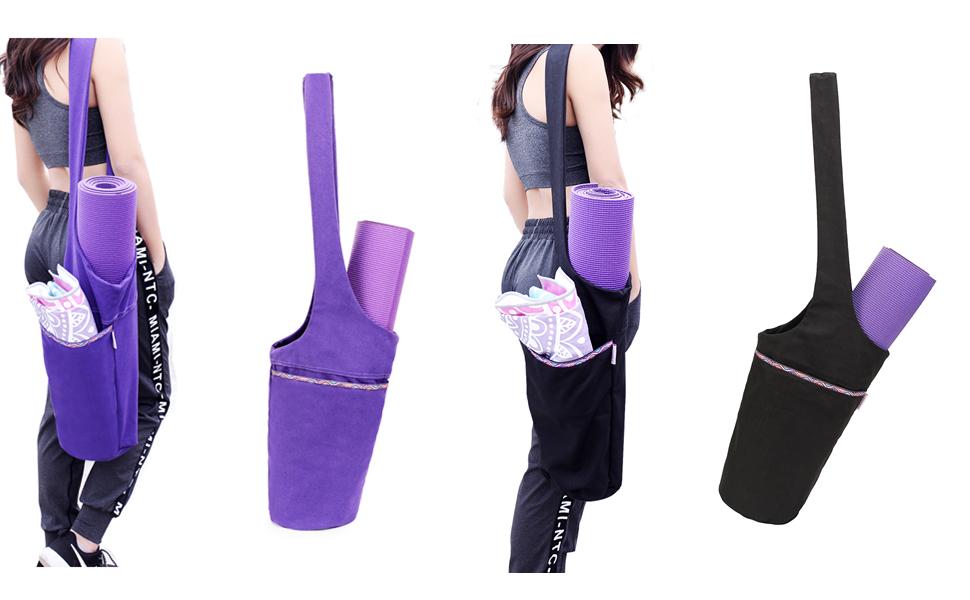 UCOOLY Yoga Mat Bag Tote Sling Carrier with Large Side Pocket & Zipper Pocket   Fits Most Size Mats