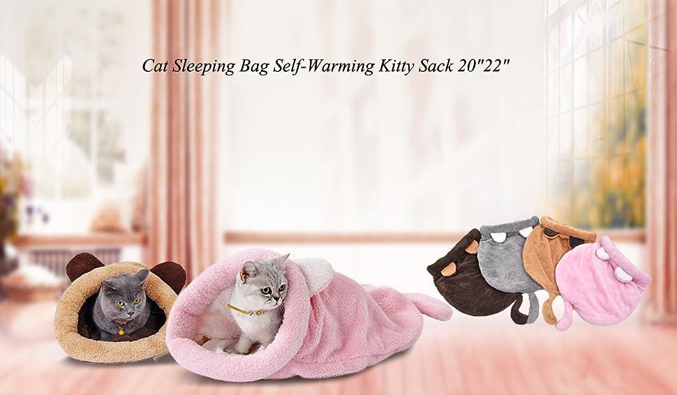 ZS ZHISHANG Saco de Dormir c/álido para Gatos,Warm Cat Sleeping Bag Removable Cat Bed Winter Warm Cat House Extra Warm with Velveteen Small Pet