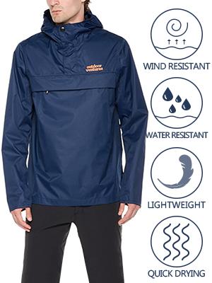 3d24f974f Outdoor Ventures Men's Marten Packable Rain Jacket Waterproof Lightweight  Windbreaker Pullover Hooded Rain Coat