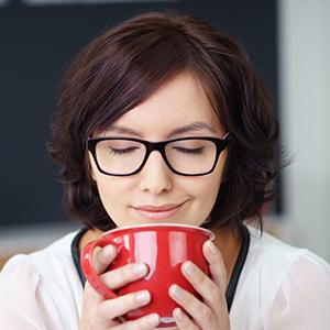 enjoying a cup of skinny hot chocolate