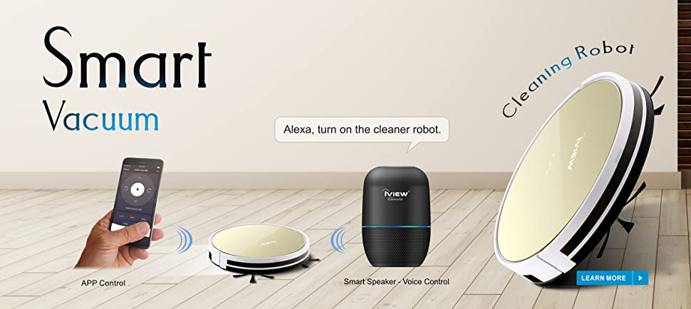 iView WiFi Smart Robot Vacuum Cleaner Works with Alexa, Google Assistant,  Cleaning Robot with Sweep &