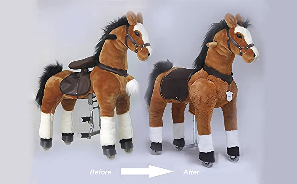 Present for Kid 3-6 Small Size UFREE Action Pony Ride on horse with braids