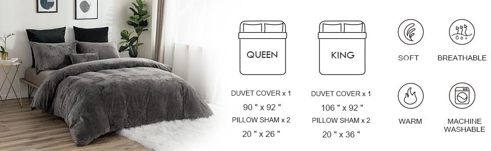 PHF Greek Velvet Duvet Cover Set