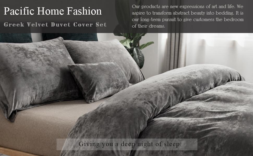 grey velvet duvet cover