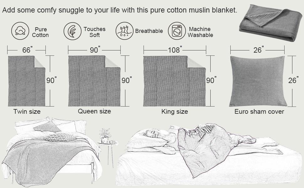 muslin blanket size